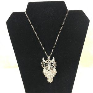 Sam Moon Silver & Crystal Owl Necklace